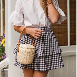 Madewell Gingham Layered Mini Skirt Sz Medium